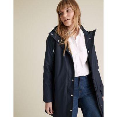 M&S Womens Rubber Funnel Neck Raincoat - 10 - Navy, Navy,Medium Beige