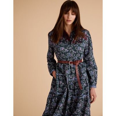 M&S Per Una Womens Pure Cotton Floral Midaxi Shirt Dress - 6 - Navy Mix, Navy Mix