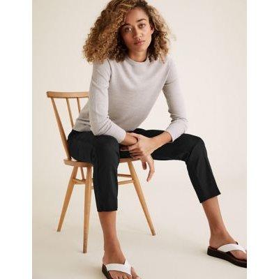 M&S Womens Cotton Slim Fit 7/8 Trousers - 6SHT - Dark Navy, Dark Navy,Black