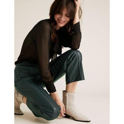 M&S Womens Evie Straight Leg Faux Leather 7/8 Trousers - 6SHT - Praline, Praline,Buff,Black