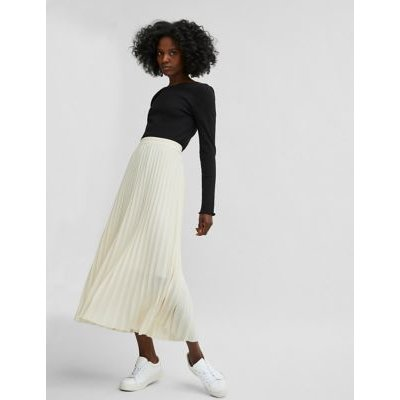 M&S Selected Femme Womens Pleated Midi Skirt - 36 - Sand, Sand