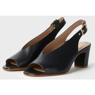 M&S Hobbs Womens Leather Buckle Open Toe Slingback Shoes - 36 - Navy, Navy