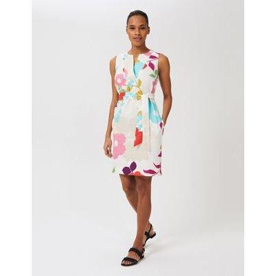 M&S Hobbs Womens Pure Linen Floral V-Neck Shift Dress - 10 - White Mix, White Mix
