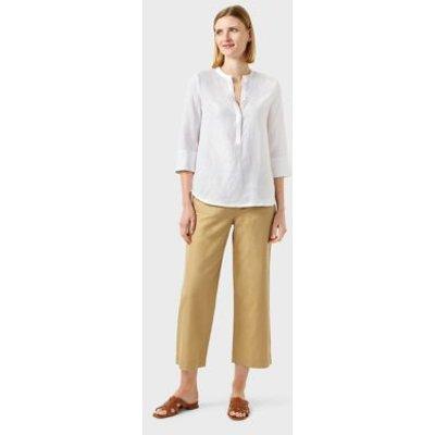 M&S Hobbs Womens Pure Linen Longline 3/4 Sleeve Blouse - 8 - White, White