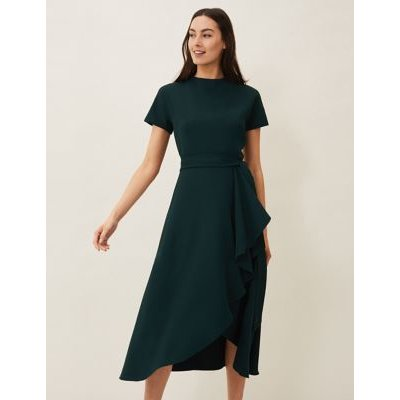 M&S Phase Eight Womens Round Neck Belted Knee Length Shift Dress - 8 - Green, Green