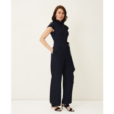M&S Phase Eight Womens Belted Short Sleeve Jumpsuit - 10 - Blue, Blue