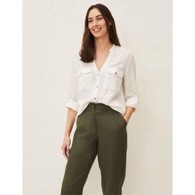M&S Phase Eight Womens Linen V-Neck Longline Long Sleeve Blouse - 12 - White, White