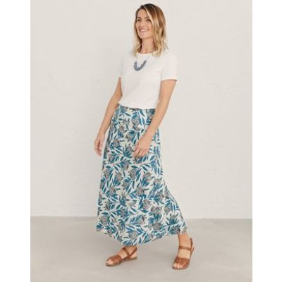 M&S Seasalt Cornwall Womens Pure Cotton Printed Midaxi A-Line Skirt - 16 - Natural, Natural