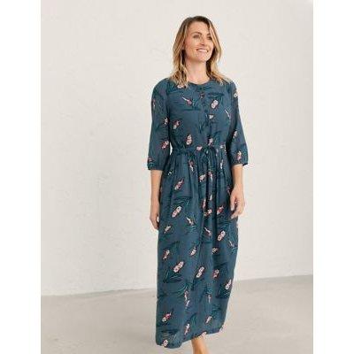 M&S Seasalt Cornwall Womens Cotton Floral V-Neck Maxi Waisted Dress - 14 - Blue, Blue
