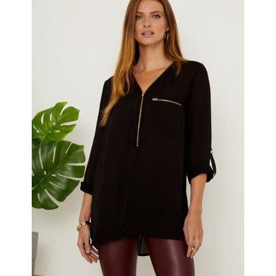 M&S Sosandar Womens Zip Up 3/4 Sleeve Tunic - 16 - Black, Black