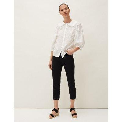 M&S Phase Eight Womens Textured Peter Pan Collar 3/4 Sleeve Blouse - 16 - Cream, Cream