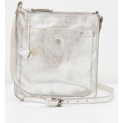 M&S White Stuff Womens Leather Metallic Cross Body Bag - 1SIZE - Silver, Silver,Brown Mix