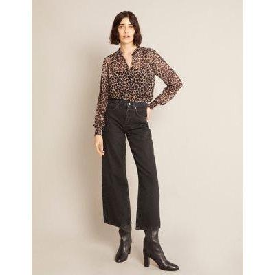M&S Albaray Womens Animal Print Collarless Long Sleeve Blouse - 8 - Brown Mix, Brown Mix