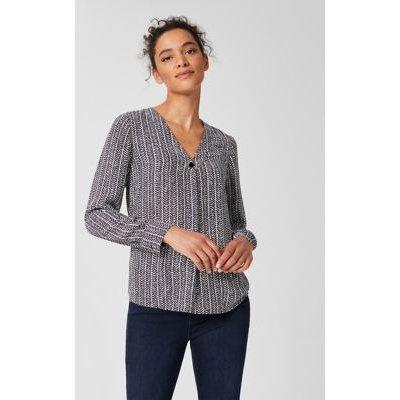 M&S Hobbs Womens Geometric V-Neck Long Sleeve Blouse - 6 - Navy Mix, Navy Mix