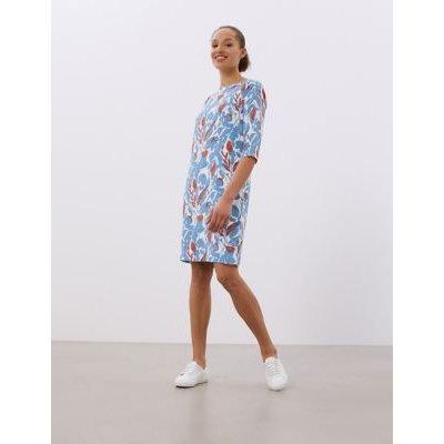 M&S Jaeger Womens Floral Round Neck Knee Length Shift Dress - 18 - Medium Blue Mix, Medium Blue Mix