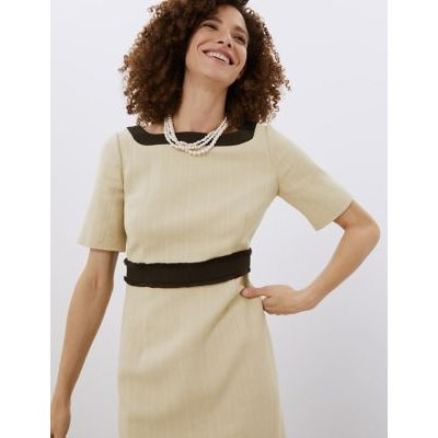M&S Jaeger Womens Cotton Colour Block Square Neck Shift Dress - 8 - Ivory Mix, Ivory Mix