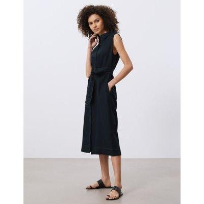 M&S Jaeger Womens Pure Linen Belted Midi Shirt Dress - 10 - Navy, Navy