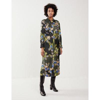 M&S Jaeger Womens Pure Silk Floral Tie Front Midi Shirt Dress - 6 - Green, Green