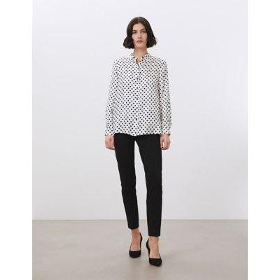 M&S Jaeger Womens Pure Silk Polka Dot Long Sleeve Shirt - 10 - White/Black, White/Black