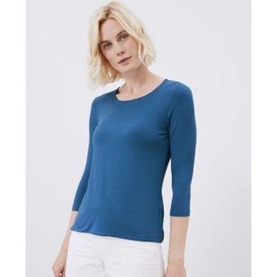 M&S Jaeger Womens Jersey Scoop Neck 3/4 Sleeve Top - Ivory, Ivory,Black,Khaki,Light Blue,Orange,Navy,Blue