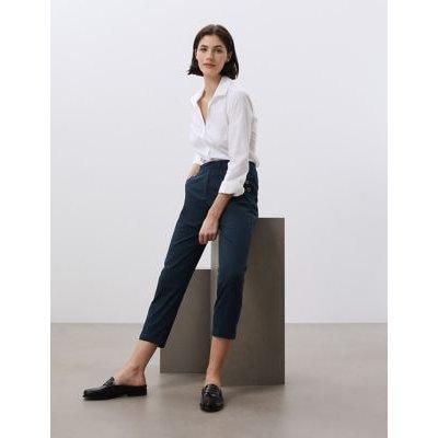 M&S Jaeger Womens Cotton Pocket Detail Tapered Chinos - 10 - Khaki, Khaki