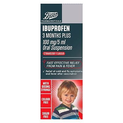 Boots Ibuprofen 3 Months Plus 100 mg/ 5 ml Oral Suspension Strawberry Flavour 100ml
