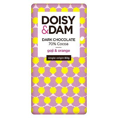 Doisy   Dam Goji and Orange Dark Chocolate 80g - 5060507100042