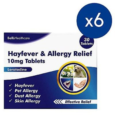 Bells Hayfever and Allergy Relief 10mg Tablets - 30 Tablets (6 Packs)