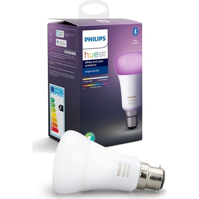 PHILIPS Hue White & Colour Ambiance Bluetooth LED Bulb - B22, White