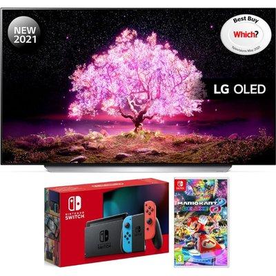 "55"" LG OLED55C14LB  Smart 4K Ultra HD OLED TV, Nintendo Switch & Mario Kart 8 Bundle"