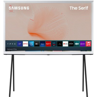 "55"" SAMSUNG The Serif QE55LS01TAUXXU  Smart 4K Ultra HD HDR QLED TV with Bixby, Alexa & Google Assistant - Cloud White, White"