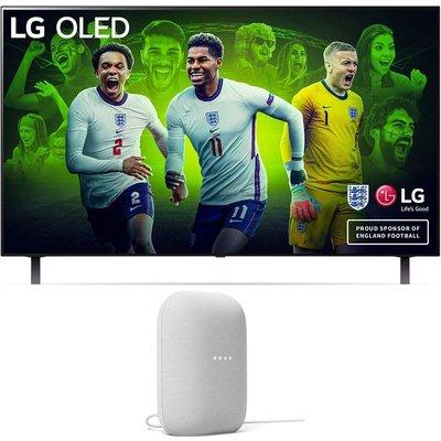 """48"""" LG OLED48A16LA  Smart 4K Ultra HD HDR OLED TV & Chalk Google Nest Audio Bundle"""