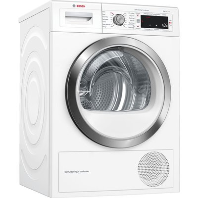 BOSCH Serie 8 WTW87561GB 9 kg Condenser Tumble Dryer - White, White