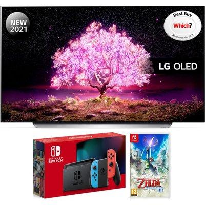 """55"""" LG OLED55C14LB  Smart 4K Ultra HD OLED TV, Nintendo Switch & Legend of Zelda Bundle"""