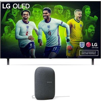 """48"""" LG OLED48A16LA  Smart 4K Ultra HD HDR OLED TV & Charcoal Google Nest Audio Bundle, Charcoal"""
