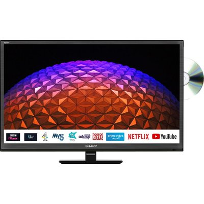 "24"" SHARP 1T-C24BE0KR1FB  Smart HD Ready LED TV with Built-in DVD Player"