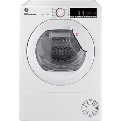 HOOVER H-Dry 300 HLE H8A2TE WiFi-enabled 8 kg Heat Pump Tumble Dryer - White, White