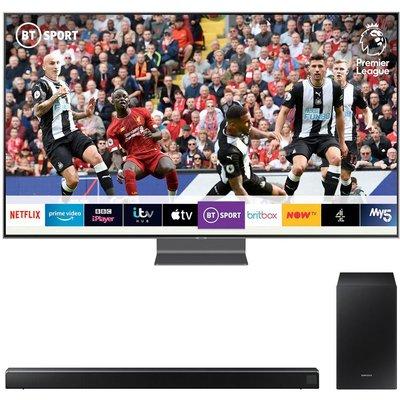 "75"" SAMSUNG QE75Q90RATXXU  Smart 4K Ultra HD HDR QLED TV with Bixby & HW-R550 2.1 Wireless Sound Bar Bundle, Blue"
