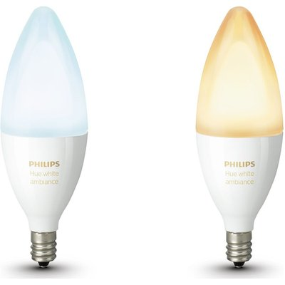PHILIPS Hue White Ambiance Wireless Bulb Twin Pack - E14, White