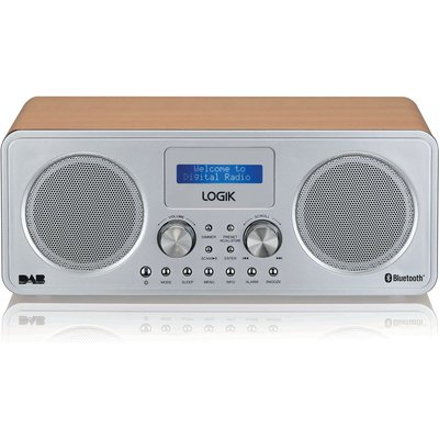 LOGIK L75DAB20 Portable DAB    Bluetooth Radio   Silver   Wood  Silver - 5017416767576
