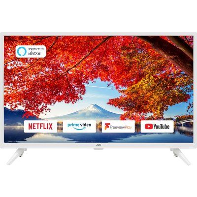 """32"""" JVC LT-32C606  Smart HD Ready HDR LED TV with Built-in DVD Player - White, White"""