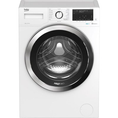 BEKO AquaTech WEX84064E0W Bluetooth 8 kg 1400 Spin Washing Machine – White, White