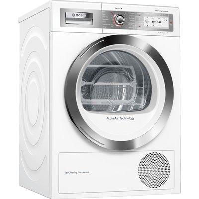 BOSCH Serie 8 WTYH6791GB Smart 9 kg Condenser Tumble Dryer - White, White