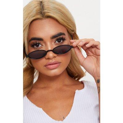 Black Small Oval Sunglasses, Black