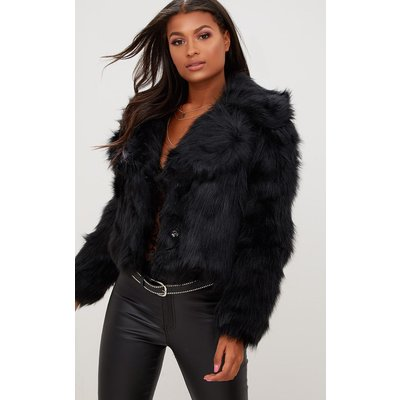 Black Faux Fur Jacket, Black