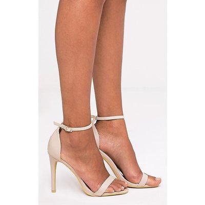 Clover Nude Strap Heeled Sandals, Pink