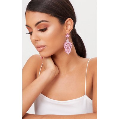 Pink Statement Jewel Drop Earrings, Pink