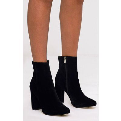 Behati Black Faux Suede Ankle Boots, Black
