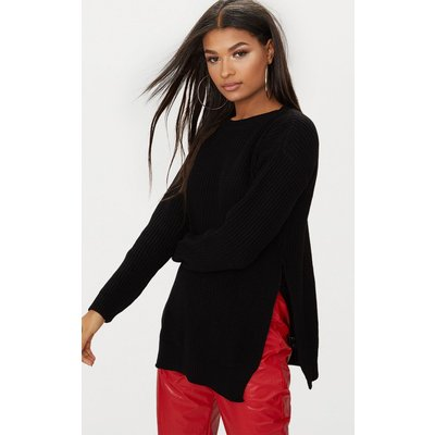 Rexx Black Round Neck Side Split Jumper, Black