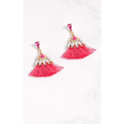 Fuchsia Diamante Layered Tassel Earrings, Pink